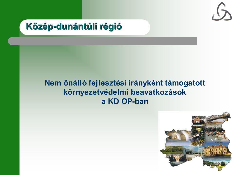 Közép-dunántúli régió Nem önálló fejlesztési irányként támogatott környezetvédelmi beavatkozások a KD OP-ban