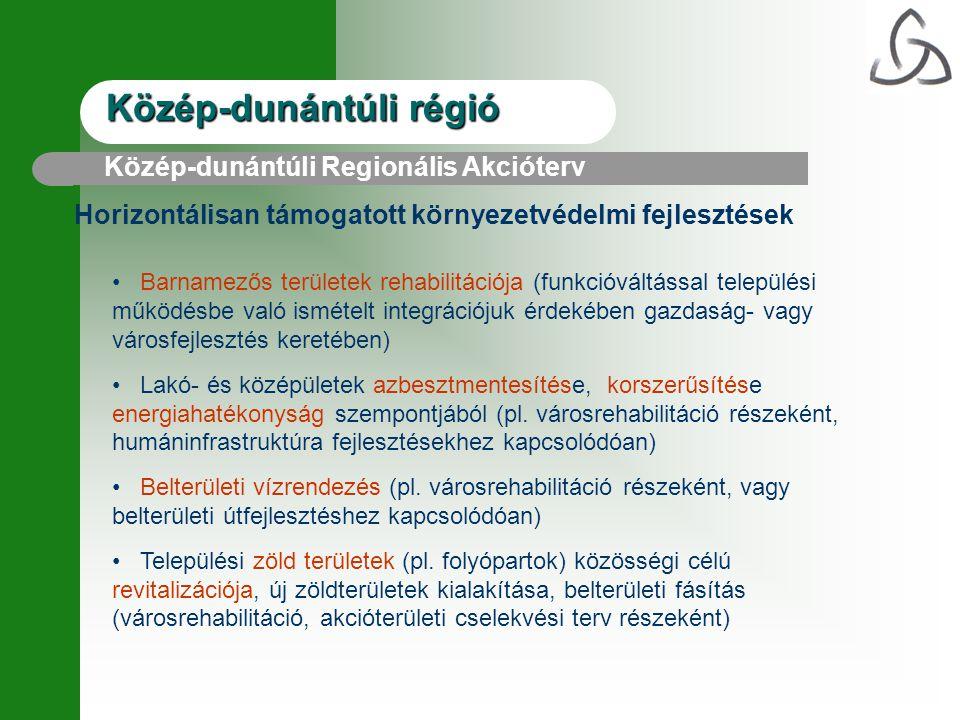 Közép-dunántúli régió Horizontálisan támogatott környezetvédelmi fejlesztések Közép-dunántúli Regionális Akcióterv Barnamezős területek rehabilitációj