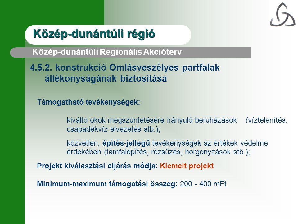 Közép-dunántúli régió 4.5.2. konstrukció Omlásveszélyes partfalak állékonyságának biztosítása Támogatható tevékenységek: kiváltó okok megszüntetésére