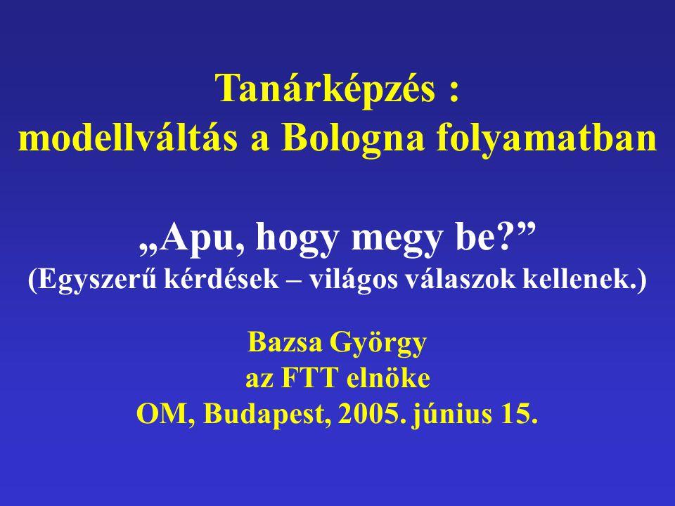 """Tanárképzés : modellváltás a Bologna folyamatban """"Apu, hogy megy be? (Egyszerű kérdések – világos válaszok kellenek.) Bazsa György az FTT elnöke OM, Budapest, 2005."""