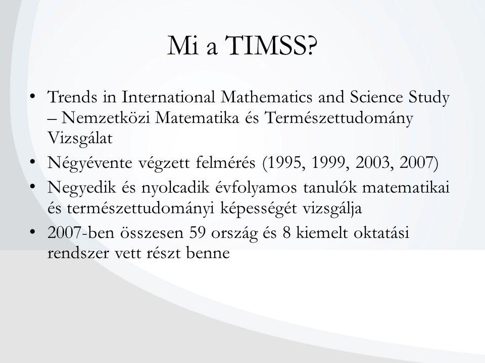 Mi a TIMSS? Trends in International Mathematics and Science Study – Nemzetközi Matematika és Természettudomány Vizsgálat Négyévente végzett felmérés (