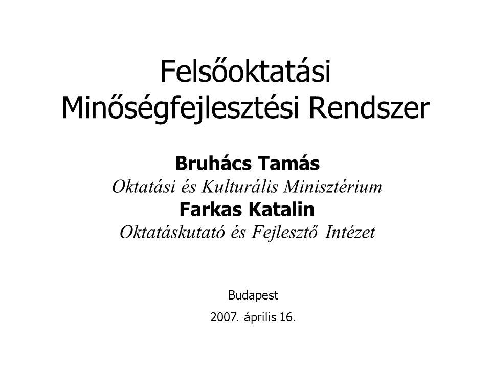 Felsőoktatási Minőségfejlesztési Rendszer Bruhács Tamás Oktatási és Kulturális Minisztérium Farkas Katalin Oktatáskutató és Fejlesztő Intézet Budapest