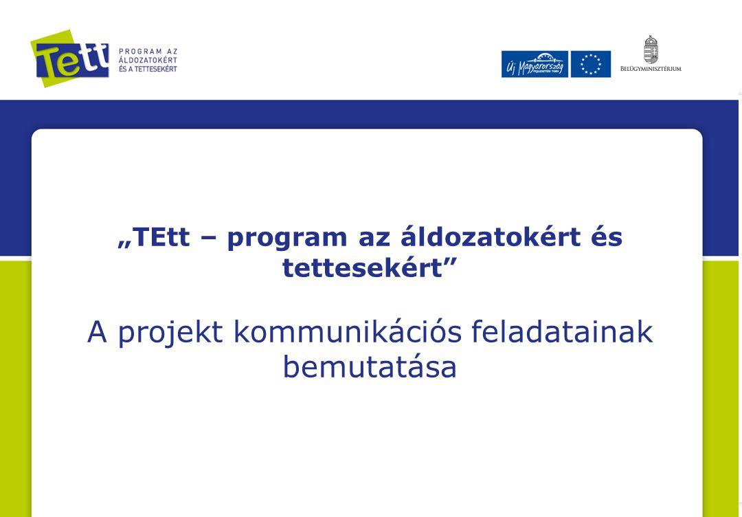 """""""TEtt – program az áldozatokért és tettesekért"""" A projekt kommunikációs feladatainak bemutatása"""