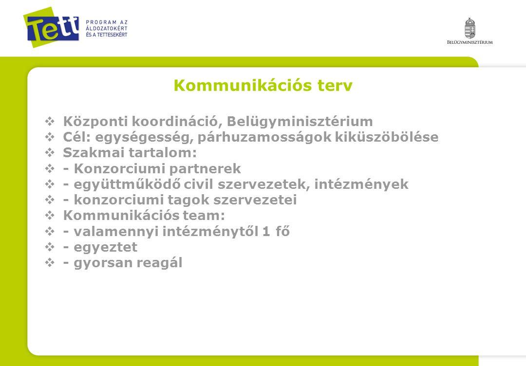 Kommunikációs terv  Központi koordináció, Belügyminisztérium  Cél: egységesség, párhuzamosságok kiküszöbölése  Szakmai tartalom:  - Konzorciumi pa
