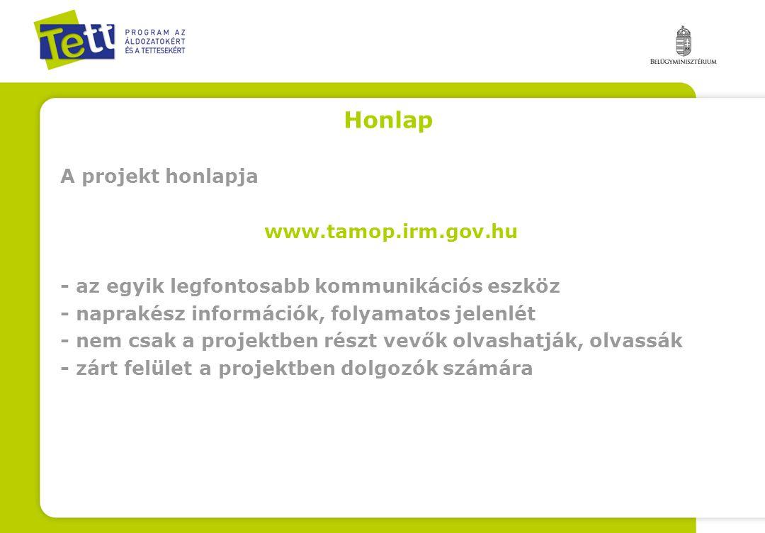 Honlap A projekt honlapja www.tamop.irm.gov.hu - az egyik legfontosabb kommunikációs eszköz - naprakész információk, folyamatos jelenlét - nem csak a