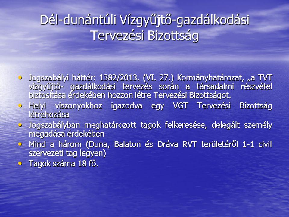 Dél-dunántúli Vízgyűjtő-gazdálkodási Tervezési Bizottság Jogszabályi háttér: 1382/2013.