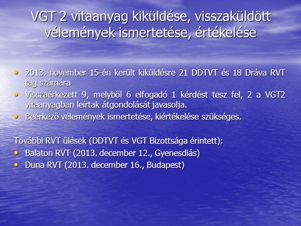 VGT 2 vitaanyag kiküldése, visszaküldött vélemények ismertetése, értékelése 2013.