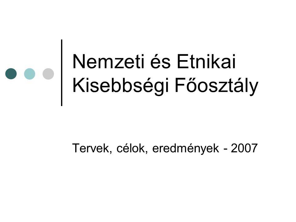 Nemzeti és Etnikai Kisebbségi Főosztály Tervek, célok, eredmények - 2007