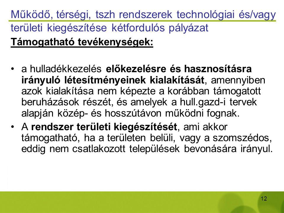 12 Működő, térségi, tszh rendszerek technológiai és/vagy területi kiegészítése kétfordulós pályázat Támogatható tevékenységek: a hulladékkezelés előke