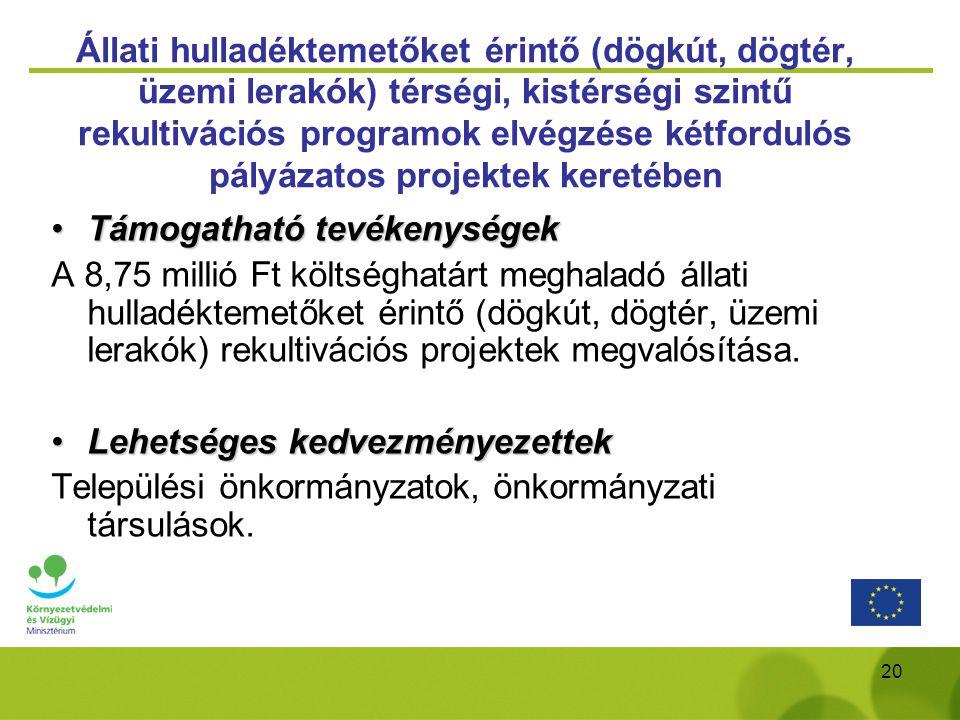 20 Állati hulladéktemetőket érintő (dögkút, dögtér, üzemi lerakók) térségi, kistérségi szintű rekultivációs programok elvégzése kétfordulós pályázatos