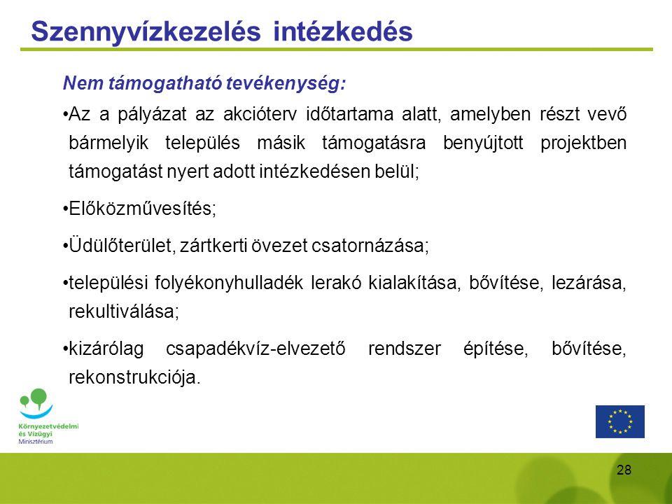 28 Szennyvízkezelés intézkedés Nem támogatható tevékenység: Az a pályázat az akcióterv időtartama alatt, amelyben részt vevő bármelyik település másik