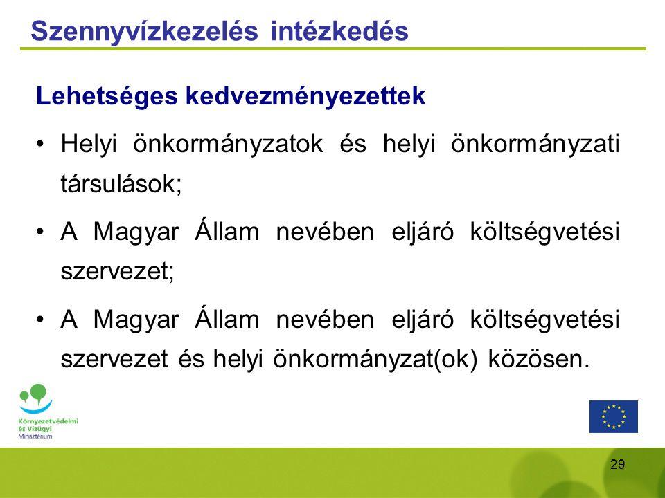 29 Szennyvízkezelés intézkedés Lehetséges kedvezményezettek Helyi önkormányzatok és helyi önkormányzati társulások; A Magyar Állam nevében eljáró költ