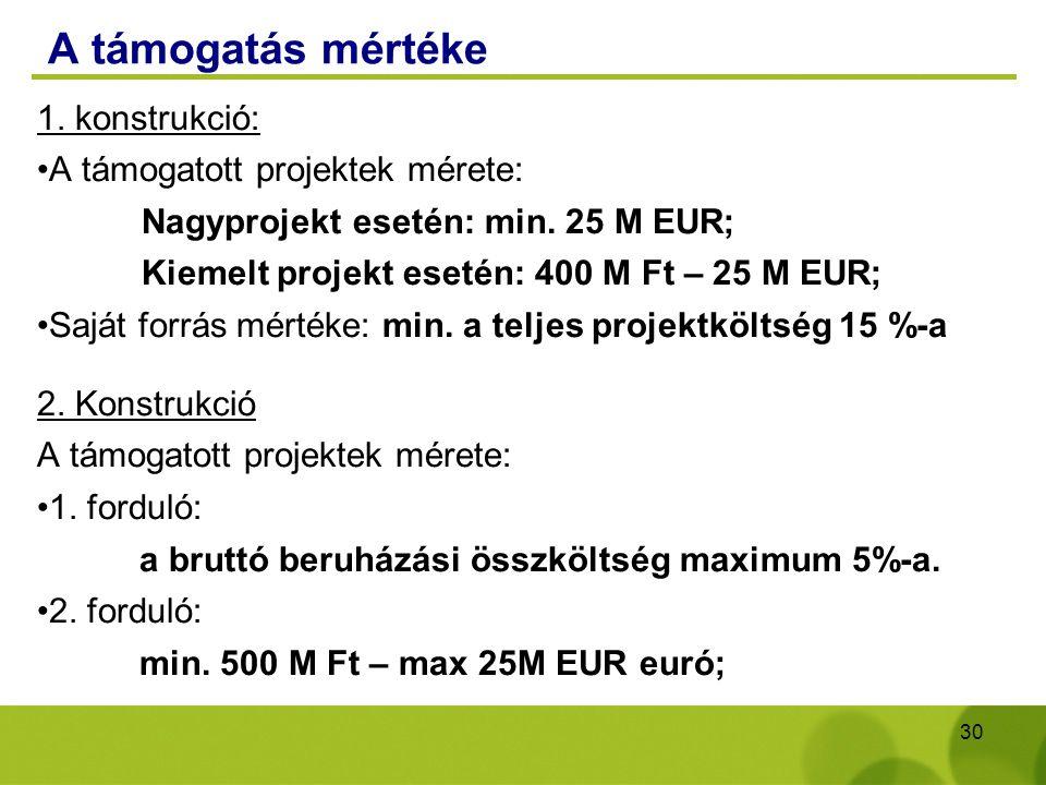 30 A támogatás mértéke 1. konstrukció: A támogatott projektek mérete: Nagyprojekt esetén: min. 25 M EUR; Kiemelt projekt esetén: 400 M Ft – 25 M EUR;