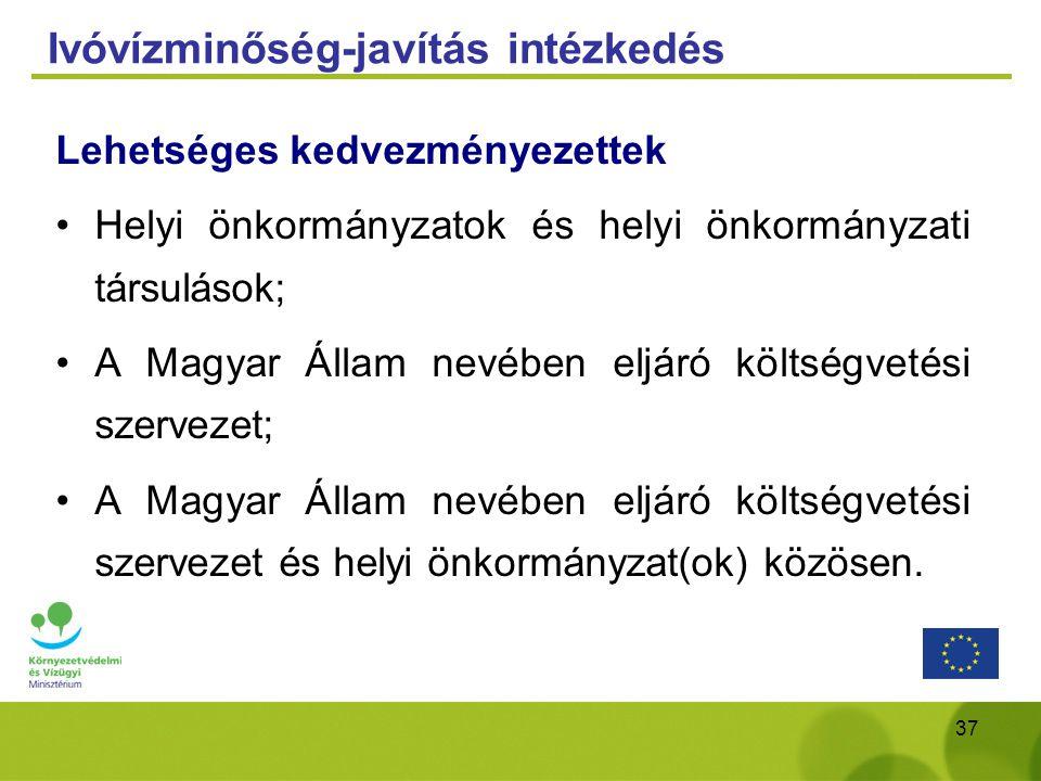 37 Ivóvízminőség-javítás intézkedés Lehetséges kedvezményezettek Helyi önkormányzatok és helyi önkormányzati társulások; A Magyar Állam nevében eljáró