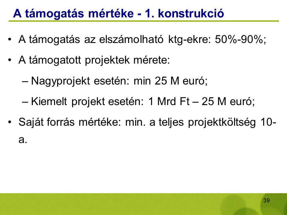 39 A támogatás mértéke - 1. konstrukció A támogatás az elszámolható ktg-ekre: 50%-90%; A támogatott projektek mérete: –Nagyprojekt esetén: min 25 M eu
