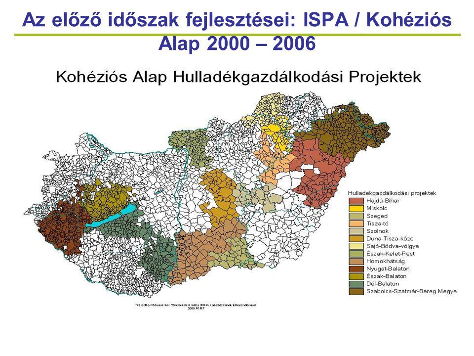 7 Az előző időszak fejlesztései: KIOP 2004 – 2006 Intézkedések típusaiProjektek száma Projektek összköltsége ( Mrd Ft) Támogatási arány Állati hulladékok kezelése153,72Önkormányzatnál: 95% Gazdasági társaságnál a régió támogatáságától függ Egészségügyi és építési- bontási hulladék kezelése Azbesztmentesítés31,3995% Építési-bontási hulladék kezelése 52,4695% Korházi hulladékégetők korszerűsítése, fejlesztése 10,3995%