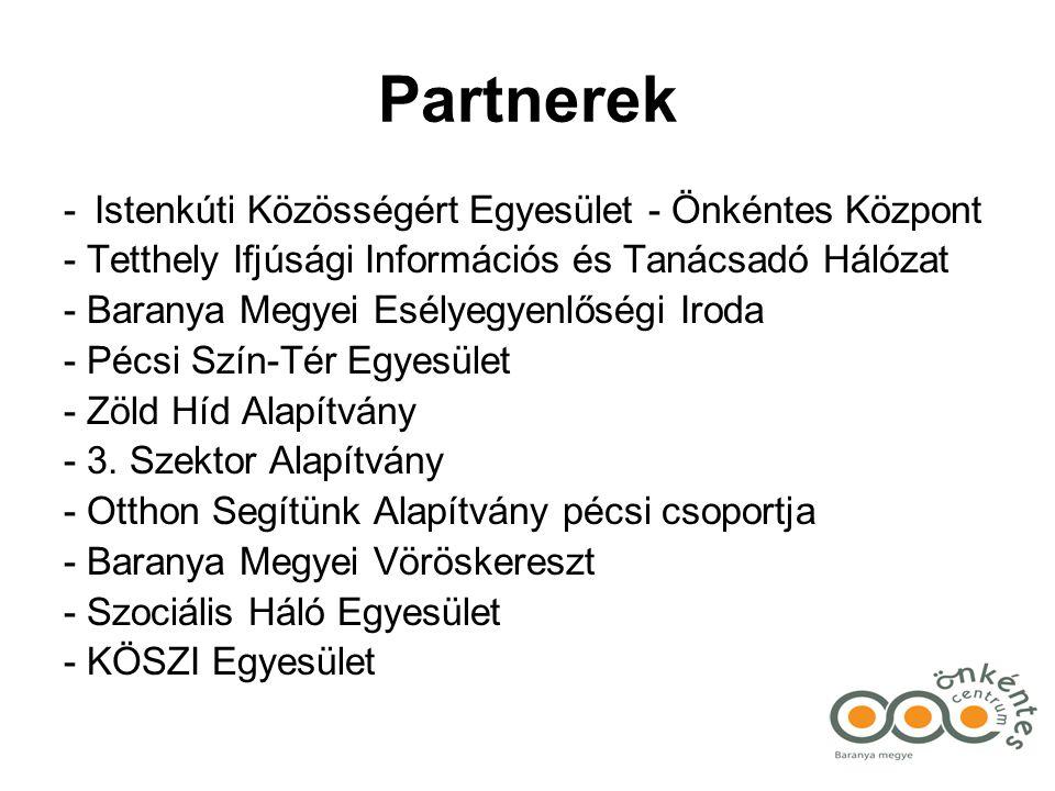 Partnerek - Istenkúti Közösségért Egyesület - Önkéntes Központ - Tetthely Ifjúsági Információs és Tanácsadó Hálózat - Baranya Megyei Esélyegyenlőségi Iroda - Pécsi Szín-Tér Egyesület - Zöld Híd Alapítvány - 3.