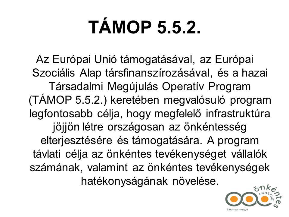 TÁMOP 5.5.2. Az Európai Unió támogatásával, az Európai Szociális Alap társfinanszírozásával, és a hazai Társadalmi Megújulás Operatív Program (TÁMOP 5