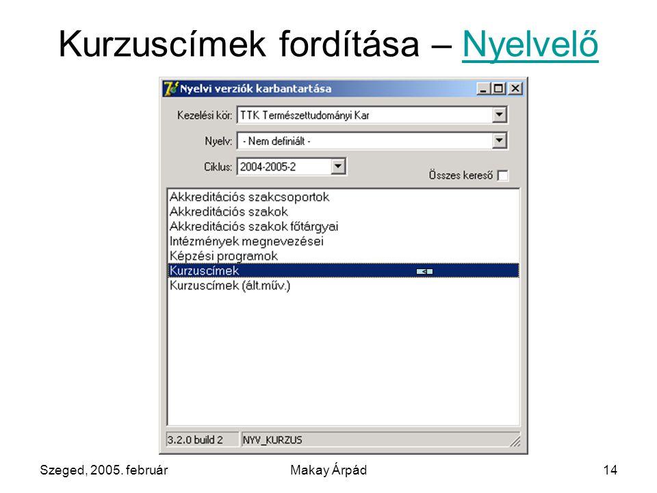 Szeged, 2005. februárMakay Árpád14 Kurzuscímek fordítása – NyelvelőNyelvelő