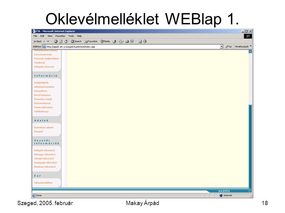 Szeged, 2005. februárMakay Árpád18 Oklevélmelléklet WEBlap 1.