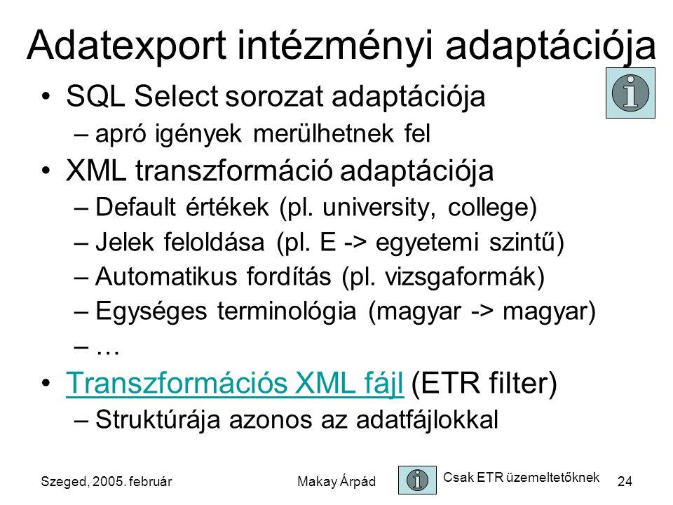 Szeged, 2005. februárMakay Árpád24 Adatexport intézményi adaptációja SQL Select sorozat adaptációja –apró igények merülhetnek fel XML transzformáció a