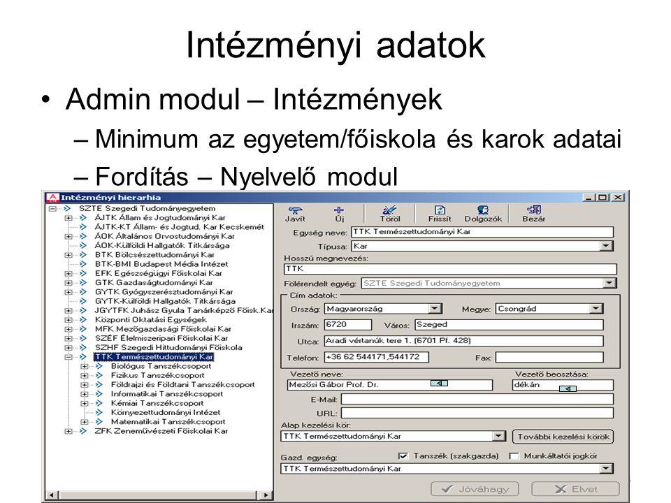 Szeged, 2005. februárMakay Árpád3 Intézményi adatok Admin modul – Intézmények –Minimum az egyetem/főiskola és karok adatai –Fordítás – Nyelvelő modul