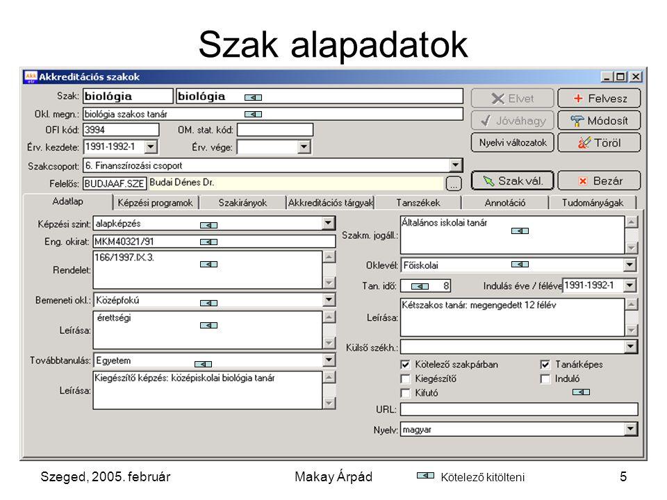 Szeged, 2005. februárMakay Árpád6 Képzési programok hozzárendelése