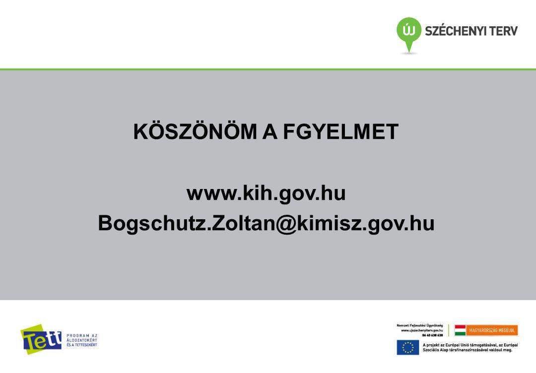 KÖSZÖNÖM A FGYELMET www.kih.gov.hu Bogschutz.Zoltan@kimisz.gov.hu