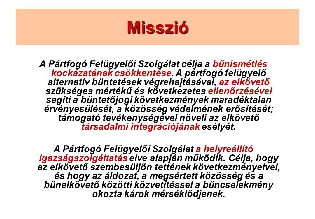 Misszió A Pártfogó Felügyelői Szolgálat célja a bűnismétlés kockázatának csökkentése.