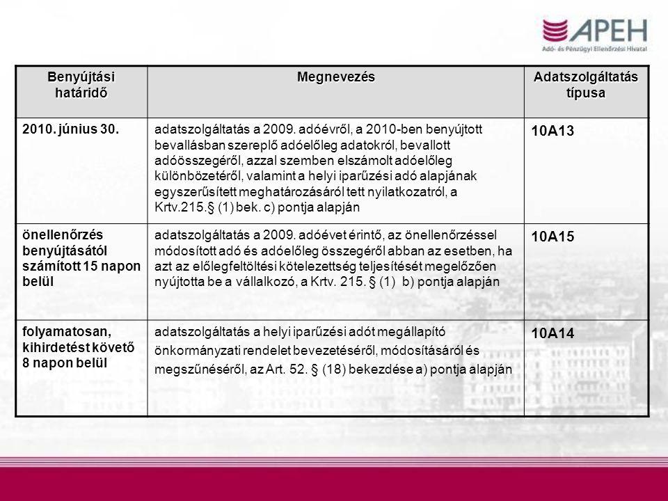 Benyújtási határidő Megnevezés Adatszolgáltatás típusa 2010. június 30.adatszolgáltatás a 2009. adóévről, a 2010-ben benyújtott bevallásban szereplő a