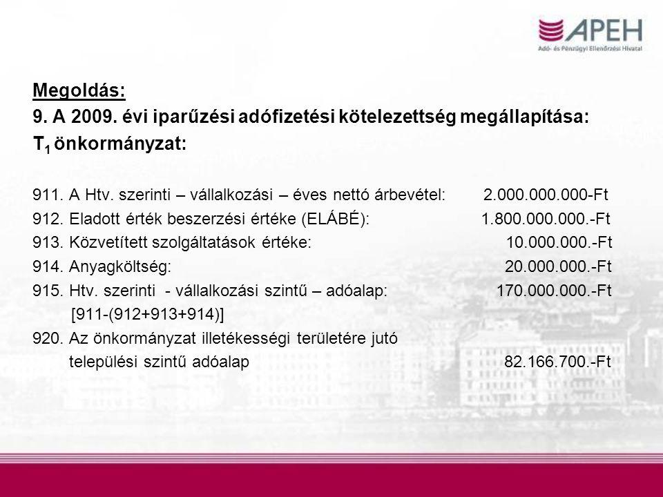 Megoldás: 9. A 2009. évi iparűzési adófizetési kötelezettség megállapítása: T 1 önkormányzat: 911. A Htv. szerinti – vállalkozási – éves nettó árbevét