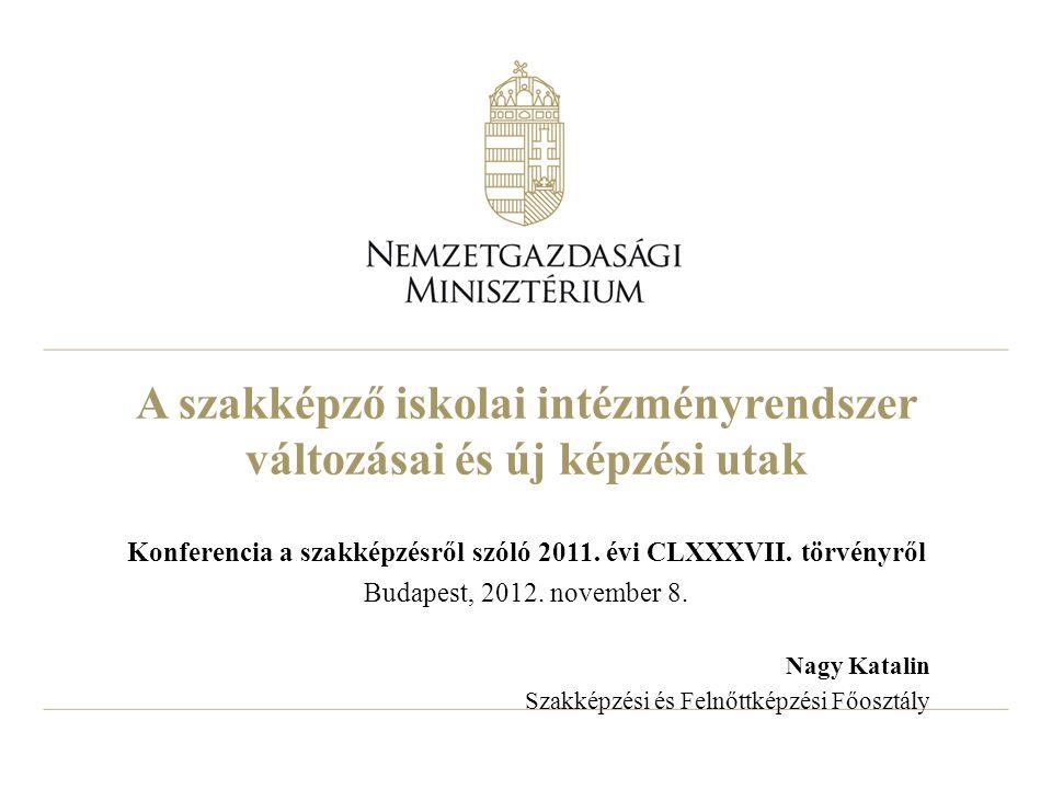 A szakképző iskolai intézményrendszer változásai és új képzési utak Konferencia a szakképzésről szóló 2011. évi CLXXXVII. törvényről Budapest, 2012. n