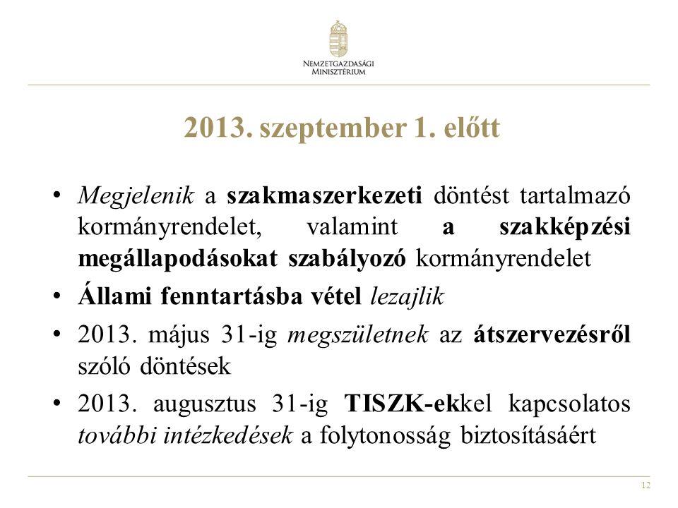 12 2013. szeptember 1. előtt Megjelenik a szakmaszerkezeti döntést tartalmazó kormányrendelet, valamint a szakképzési megállapodásokat szabályozó korm