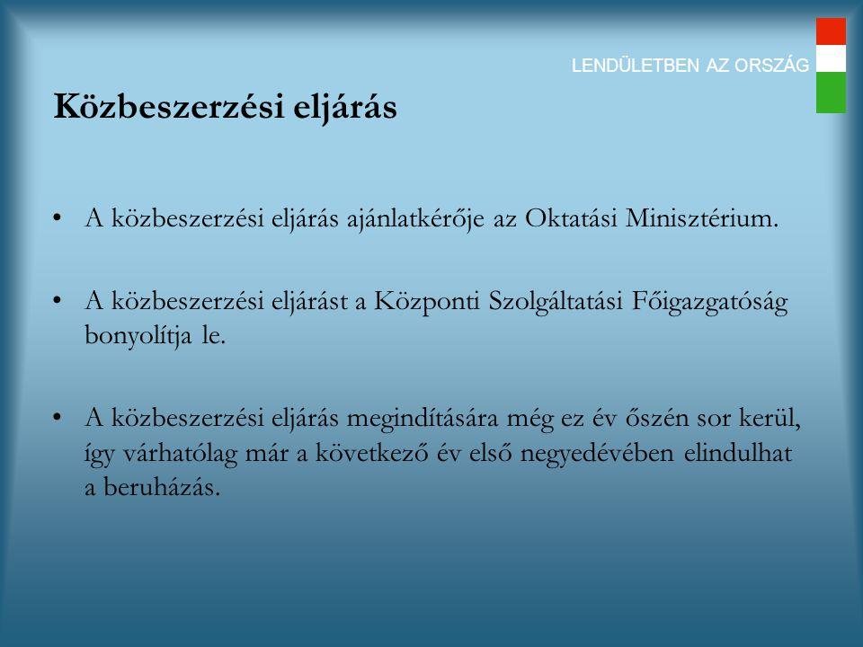 LENDÜLETBEN AZ ORSZÁG Közbeszerzési eljárás A közbeszerzési eljárás ajánlatkérője az Oktatási Minisztérium.