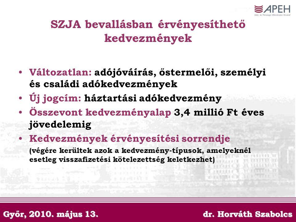 Győr, 2010. május 13. dr. Horváth Szabolcs SZJA bevallásban érvényesíthető kedvezmények Változatlan: adójóváírás, őstermelői, személyi és családi adók