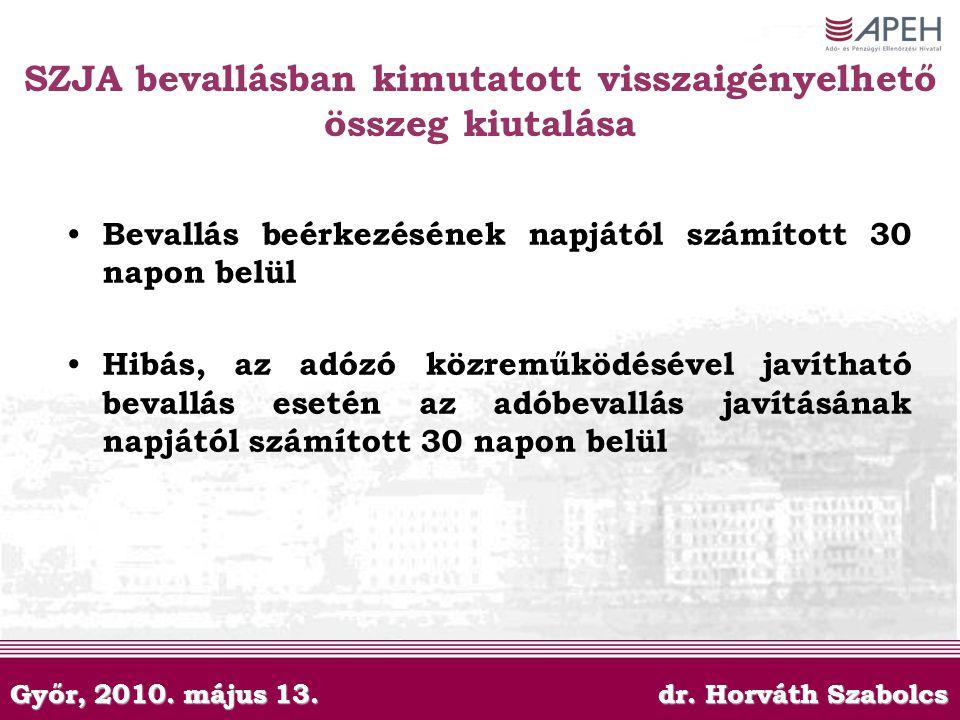 Győr, 2010. május 13. dr. Horváth Szabolcs SZJA bevallásban kimutatott visszaigényelhető összeg kiutalása Bevallás beérkezésének napjától számított 30