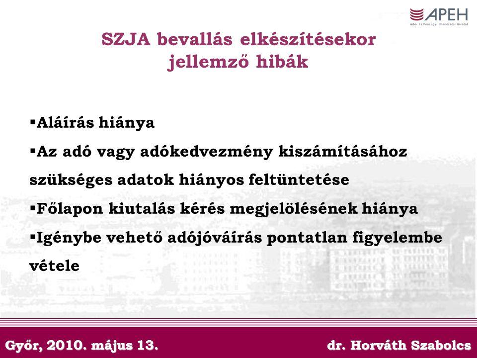Győr, 2010. május 13. dr. Horváth Szabolcs SZJA bevallás elkészítésekor jellemző hibák  Aláírás hiánya  Az adó vagy adókedvezmény kiszámításához szü