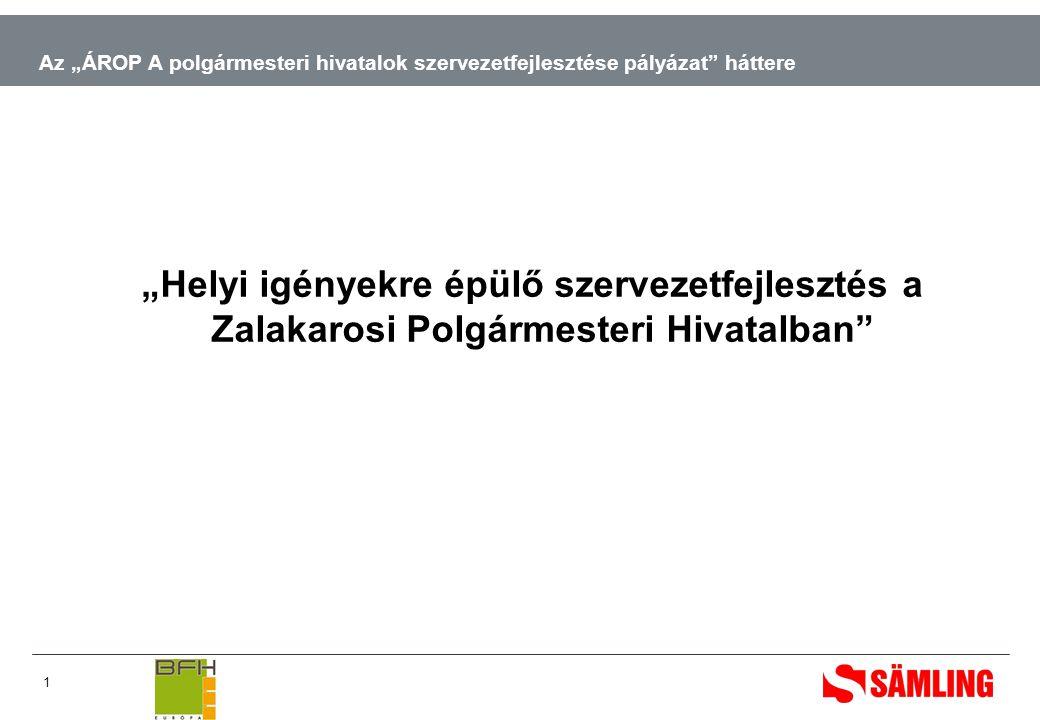 """1 Az """"ÁROP A polgármesteri hivatalok szervezetfejlesztése pályázat háttere """"Helyi igényekre épülő szervezetfejlesztés a Zalakarosi Polgármesteri Hivatalban"""