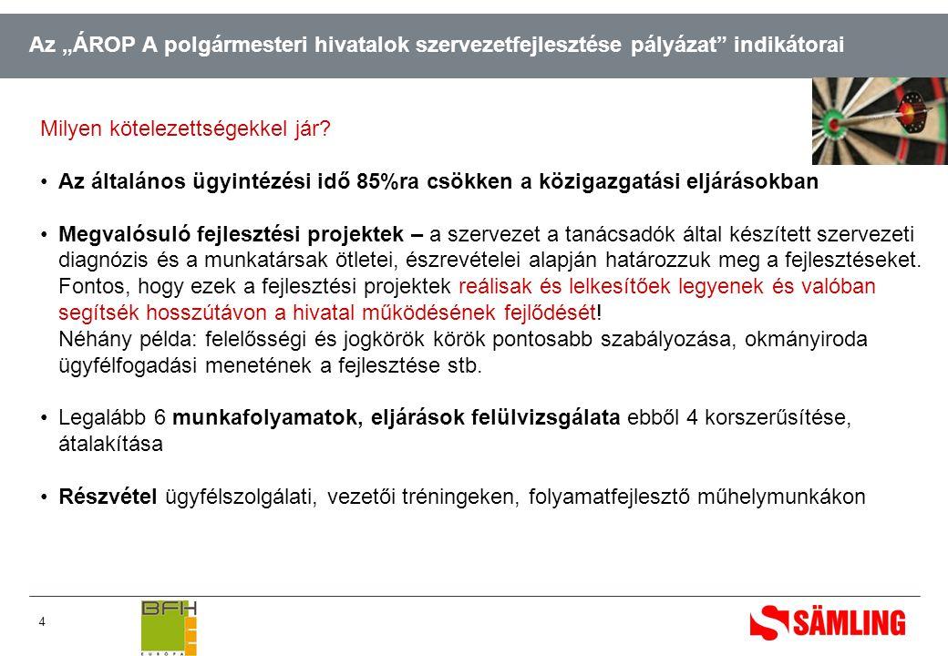 """4 Az """"ÁROP A polgármesteri hivatalok szervezetfejlesztése pályázat indikátorai Milyen kötelezettségekkel jár."""