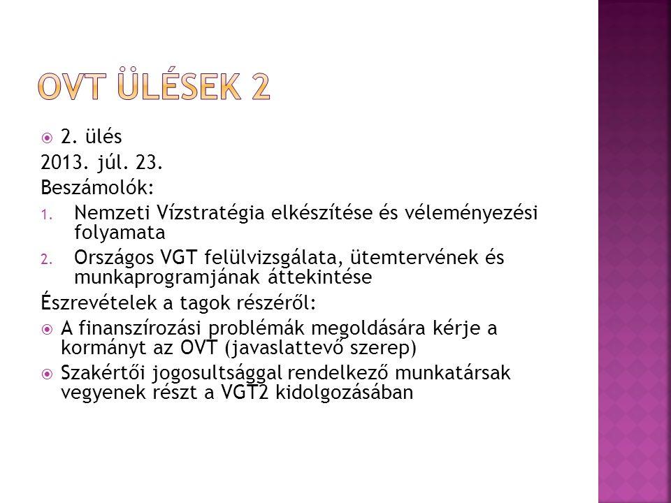  2. ülés 2013. júl. 23. Beszámolók: 1. Nemzeti Vízstratégia elkészítése és véleményezési folyamata 2. Országos VGT felülvizsgálata, ütemtervének és m