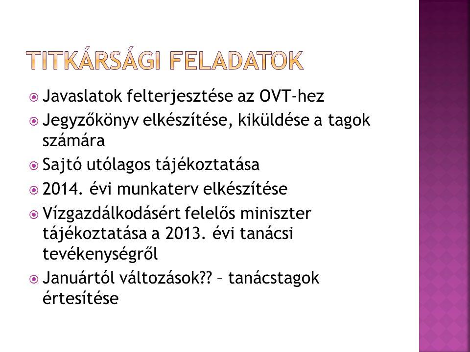  Javaslatok felterjesztése az OVT-hez  Jegyzőkönyv elkészítése, kiküldése a tagok számára  Sajtó utólagos tájékoztatása  2014.