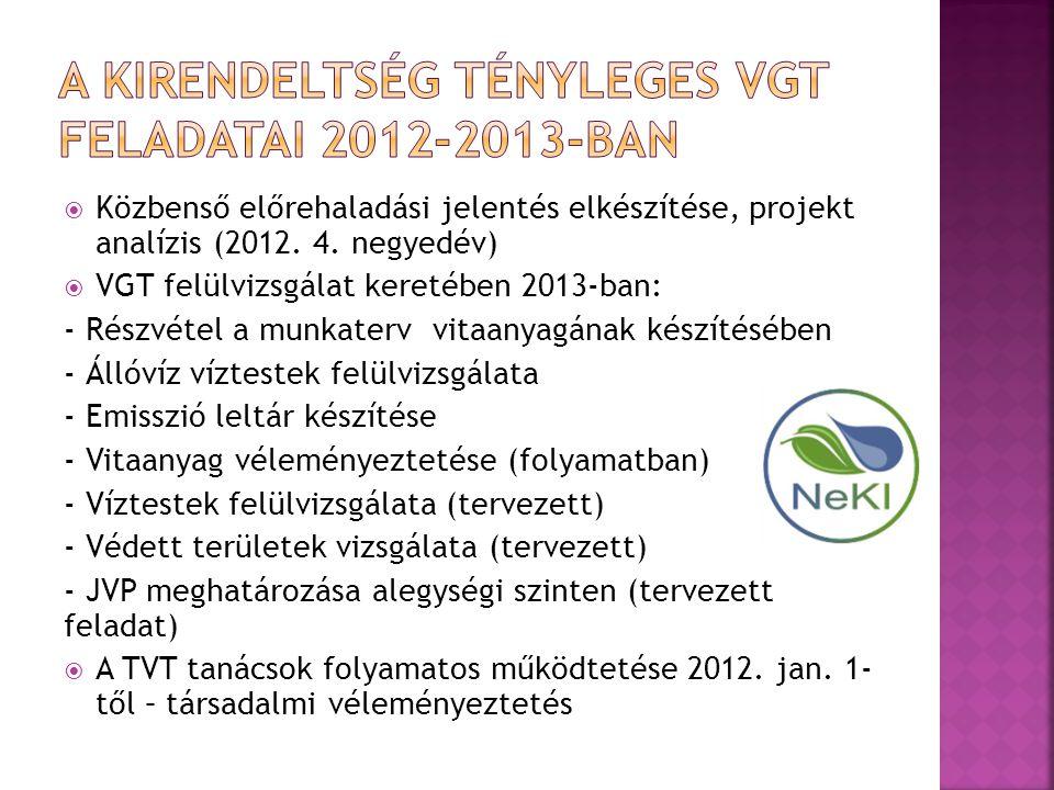  Közbenső előrehaladási jelentés elkészítése, projekt analízis (2012. 4. negyedév)  VGT felülvizsgálat keretében 2013-ban: - Részvétel a munkaterv v