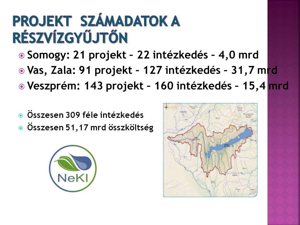  Somogy: 21 projekt – 22 intézkedés – 4,0 mrd  Vas, Zala: 91 projekt – 127 intézkedés – 31,7 mrd  Veszprém: 143 projekt – 160 intézkedés – 15,4 mrd  Összesen 309 féle intézkedés  Összesen 51,17 mrd összköltség