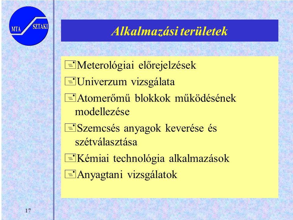 17 Alkalmazási területek +Meterológiai előrejelzések +Univerzum vizsgálata +Atomerőmű blokkok működésének modellezése +Szemcsés anyagok keverése és szétválasztása +Kémiai technológia alkalmazások +Anyagtani vizsgálatok