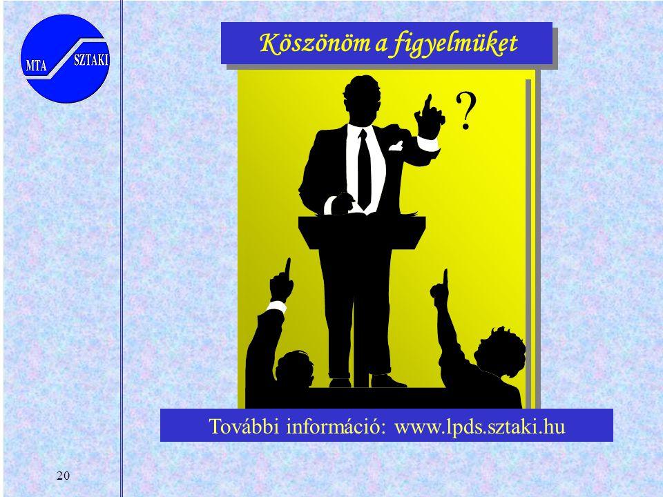 20 Köszönöm a figyelmüket ? További információ: www.lpds.sztaki.hu