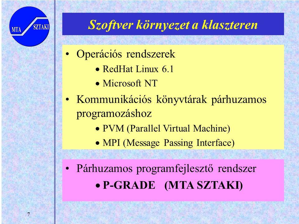 7 Szoftver környezet a klaszteren Operációs rendszerek  RedHat Linux 6.1  Microsoft NT Kommunikációs könyvtárak párhuzamos programozáshoz  PVM (Parallel Virtual Machine)  MPI (Message Passing Interface) Párhuzamos programfejlesztő rendszer  P-GRADE (MTA SZTAKI)