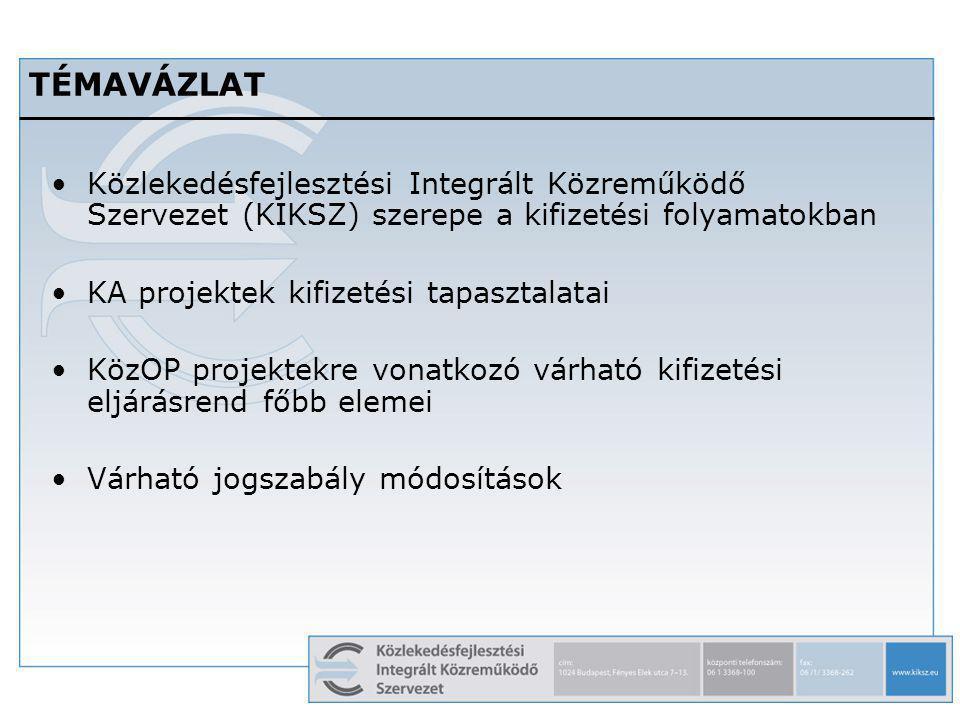 2 TÉMAVÁZLAT Közlekedésfejlesztési Integrált Közreműködő Szervezet (KIKSZ) szerepe a kifizetési folyamatokban KA projektek kifizetési tapasztalatai Kö