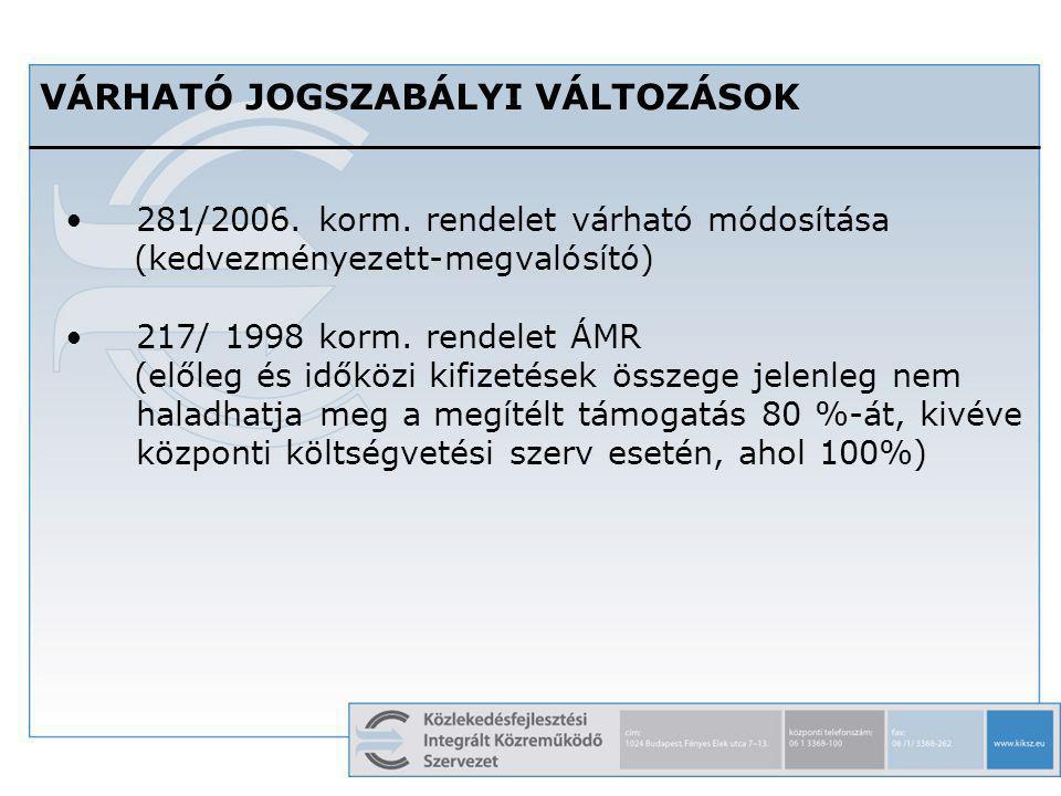 9 VÁRHATÓ JOGSZABÁLYI VÁLTOZÁSOK 281/2006. korm. rendelet várható módosítása (kedvezményezett-megvalósító) 217/ 1998 korm. rendelet ÁMR (előleg és idő