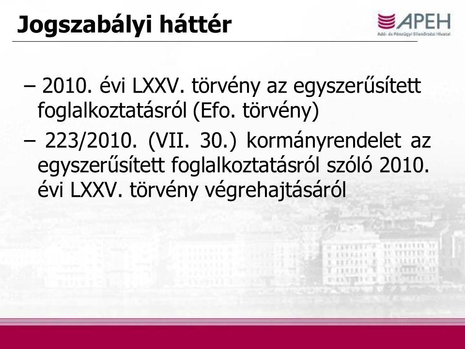 Jogszabályi háttér – 2010. évi LXXV. törvény az egyszerűsített foglalkoztatásról (Efo. törvény) – 223/2010. (VII. 30.) kormányrendelet az egyszerűsíte
