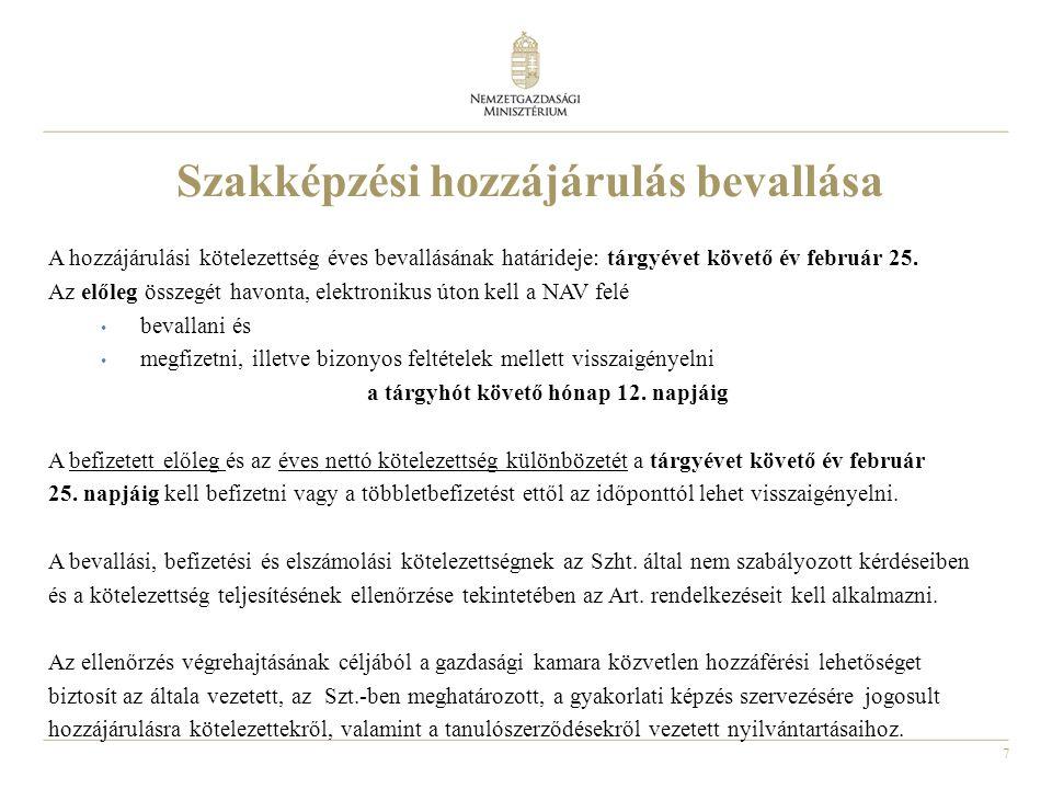 7 A hozzájárulási kötelezettség éves bevallásának határideje: tárgyévet követő év február 25. Az előleg összegét havonta, elektronikus úton kell a NAV